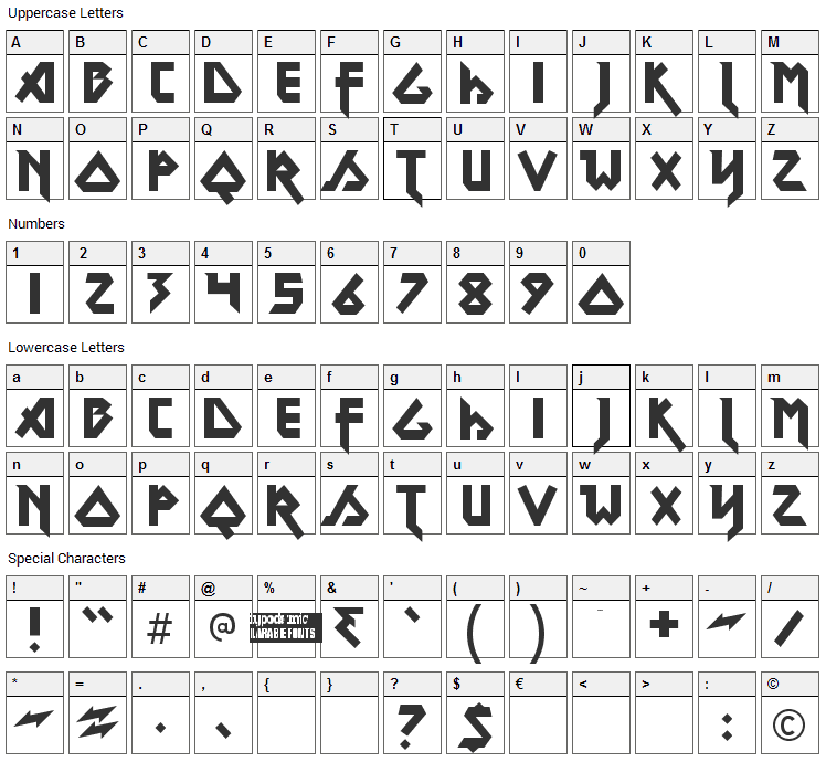 Metal Lord Font Character Map
