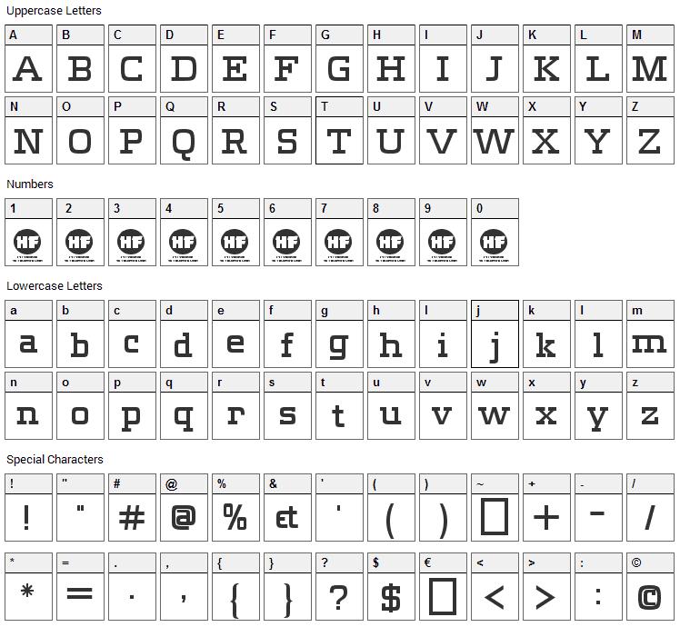 Meteora Font Character Map