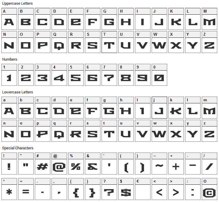 Metro Font Character Map