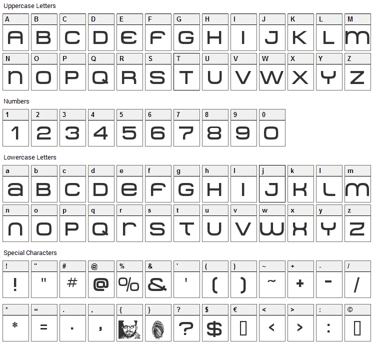 Metro DF Font Character Map