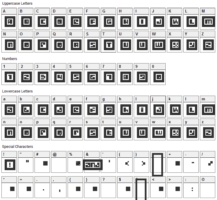 Metrobot Font Character Map