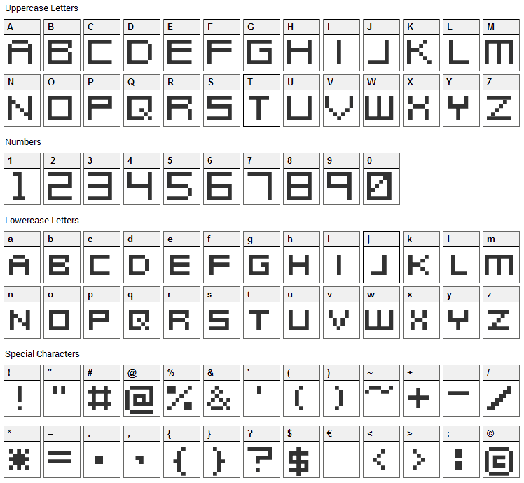 Metroid Prime Hunters Font Character Map