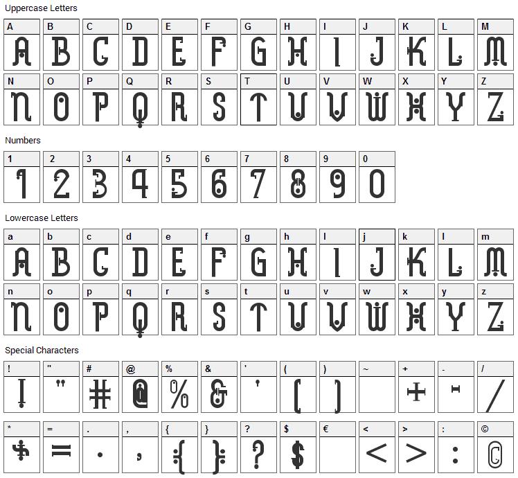Metropolis Font Character Map