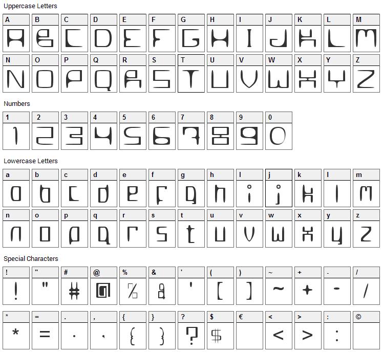 MetroSlum Font Character Map