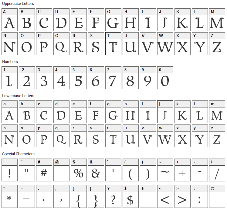 Metshige Font Character Map