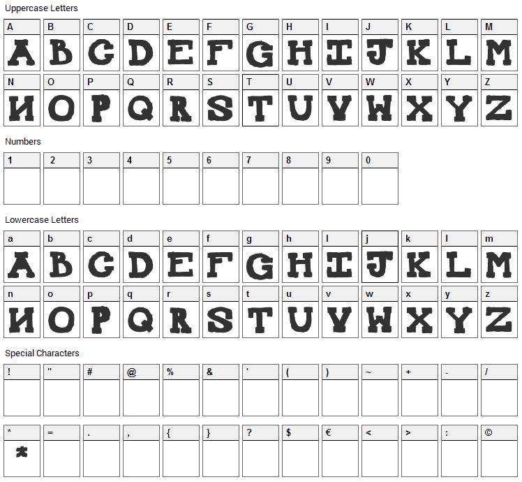 Mexican Knappett Font Character Map