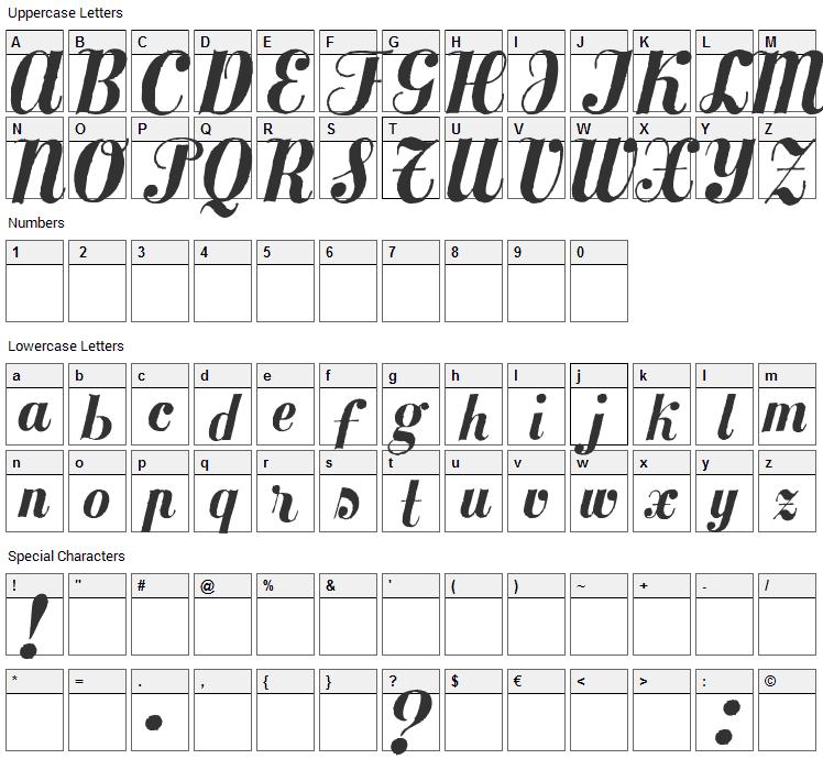 MezclaTitan Font Character Map