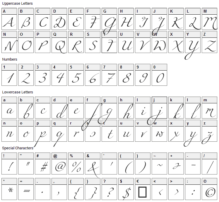 Miama Font Character Map