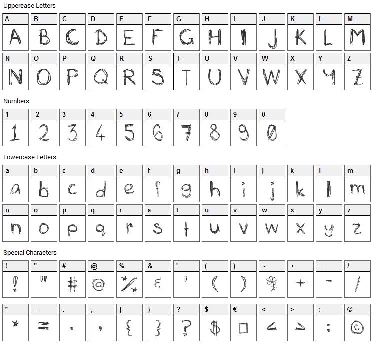 Mias Scribblings Font Character Map