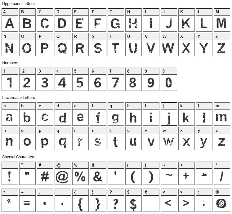 Miasm Font Character Map