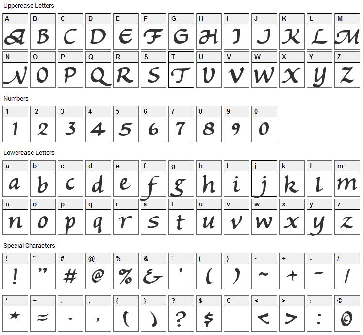 Michaelmas Font Character Map