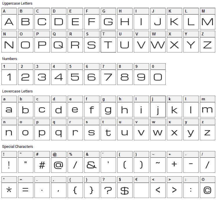 Michroma Font Character Map