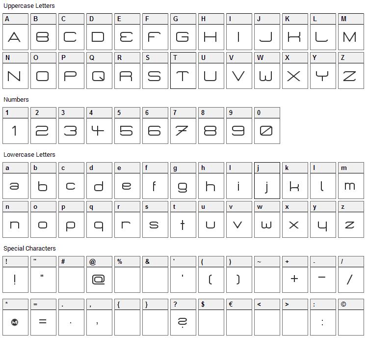 Micro Mieps Font Character Map