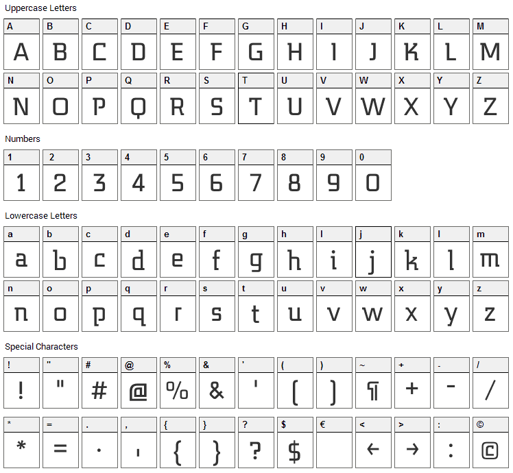 Midnight Kernboy Font Character Map