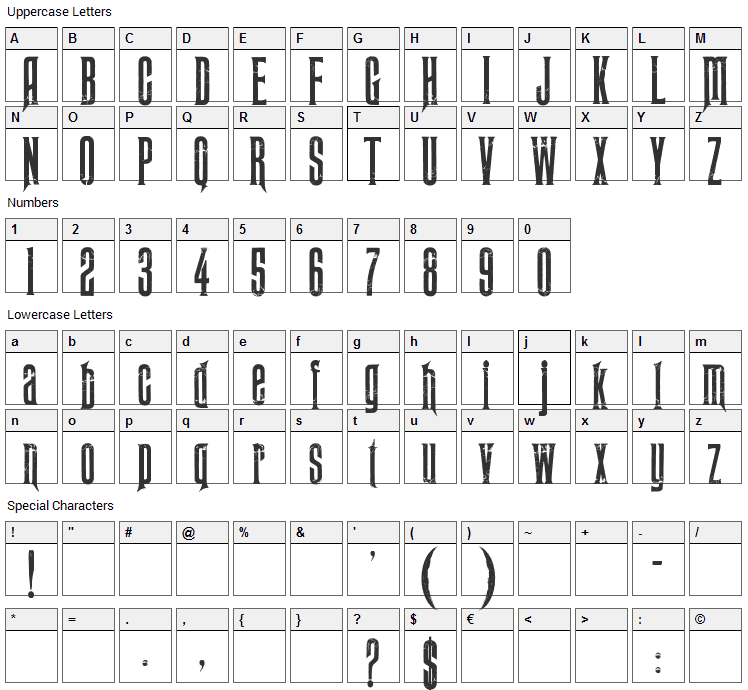 Midnight Moon Font Character Map