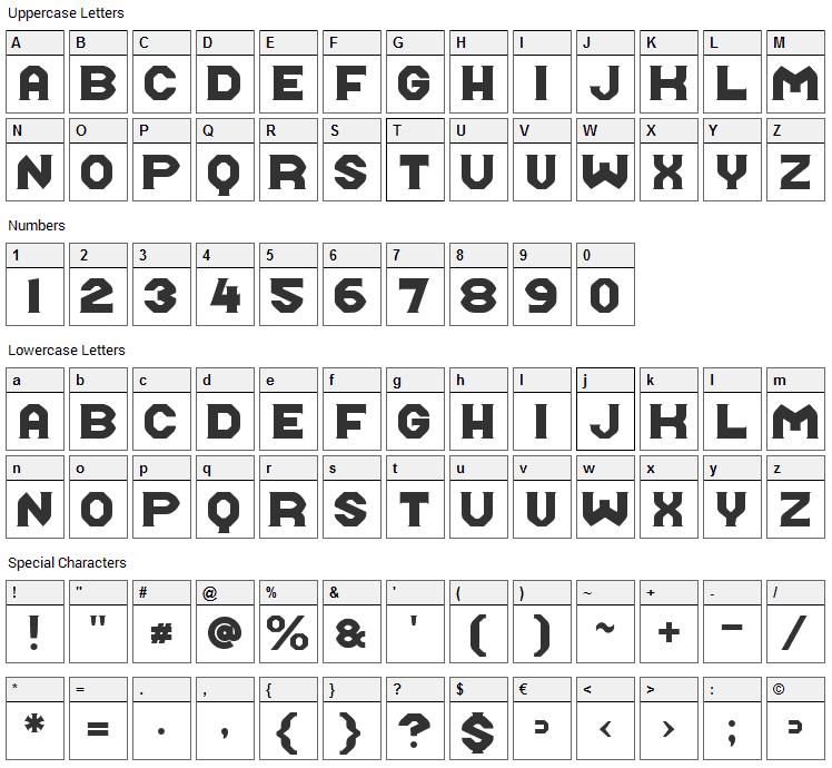 Midroba Font Character Map