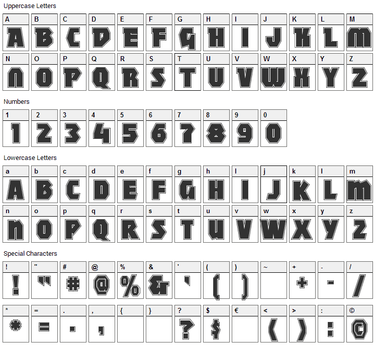 Mighty Font Character Map