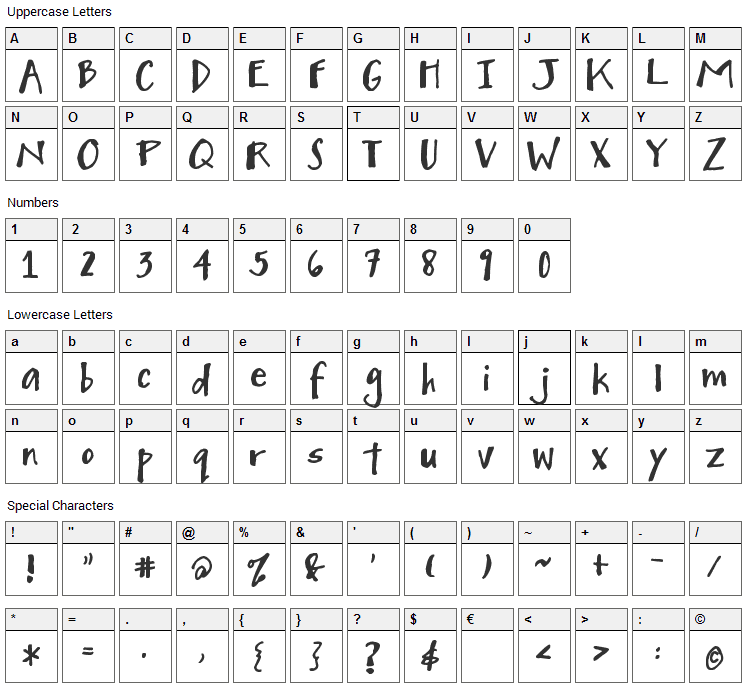 Mighty to Save Font Character Map