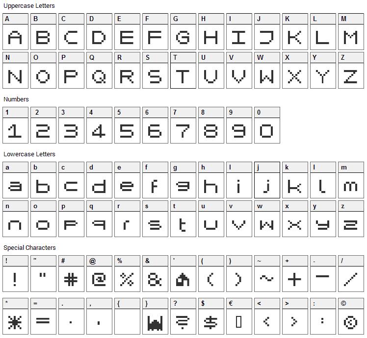 Mikrokomputer Font Character Map