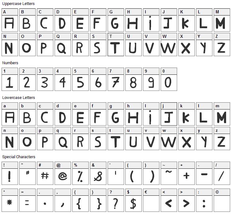 Milho Cozido Font Character Map
