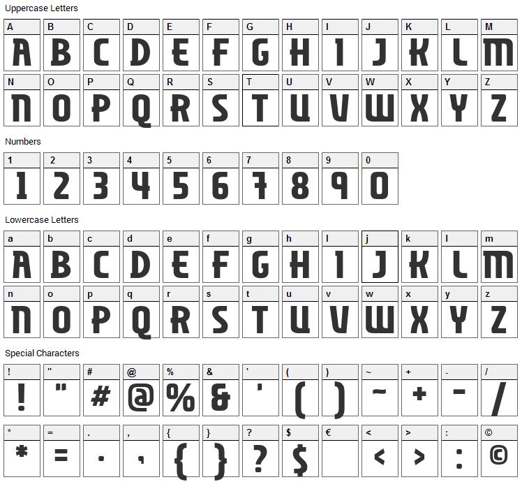 Miliciana Font Character Map