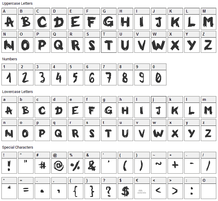 Milkman Conspiracy Font Character Map