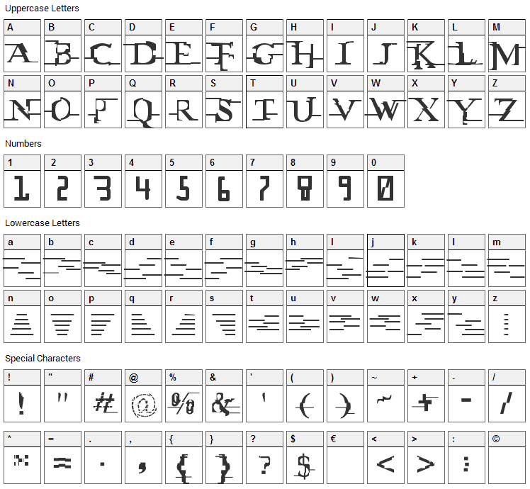 Miltown Font Character Map
