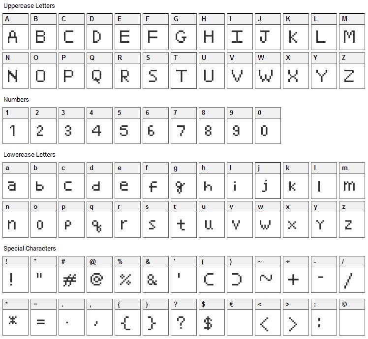 Minami Font Character Map