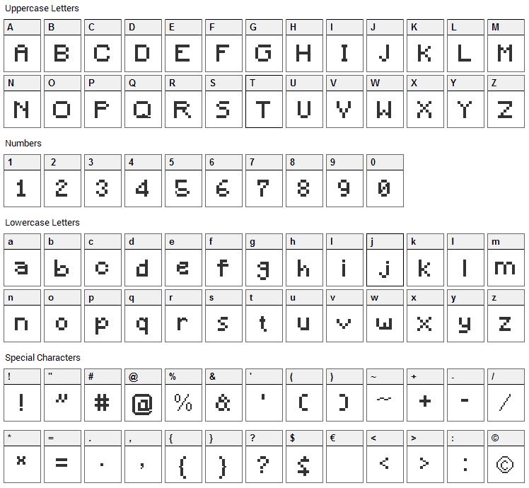 Minecraft Bitmap Font Character Map