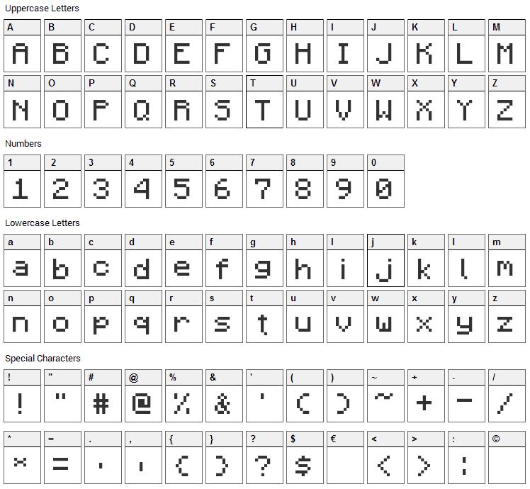 Minecraft Pixel Font Character Map
