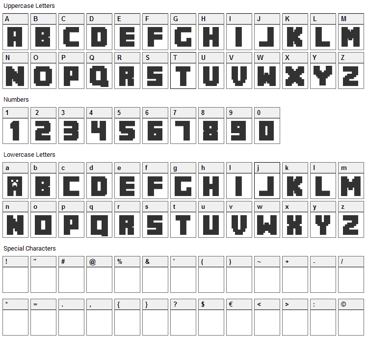 MineCrafter Font Character Map