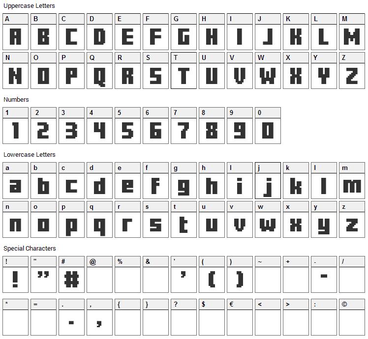 Minercraftory Font Character Map
