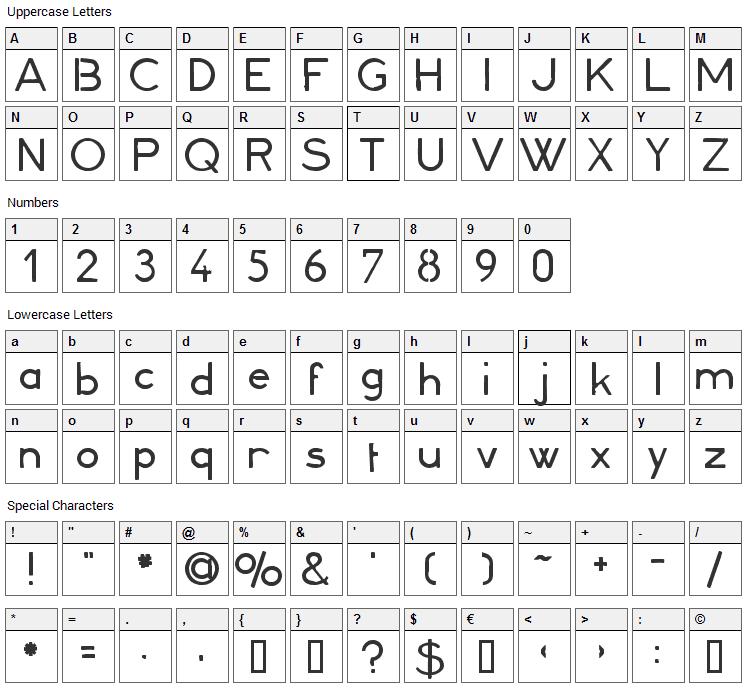 Minerva 16 Font Character Map
