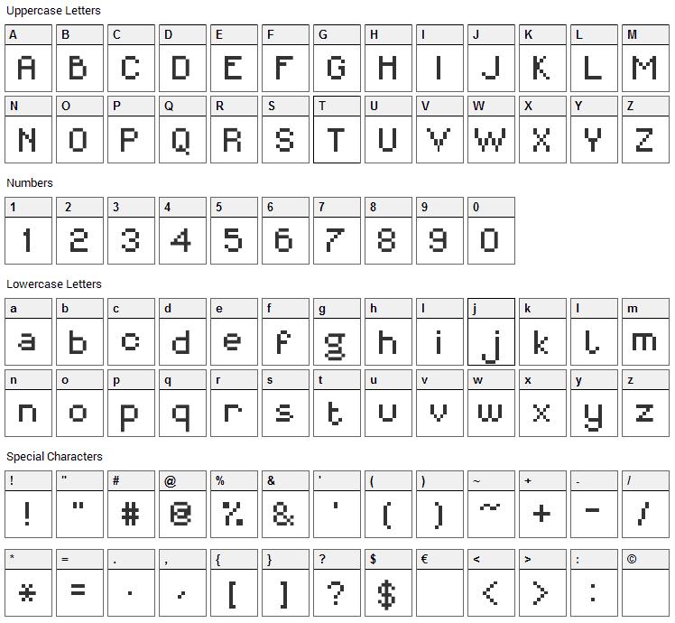 MiniForma Font Character Map