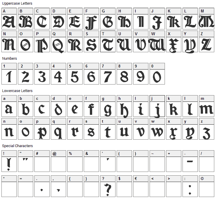 Minim Font Character Map