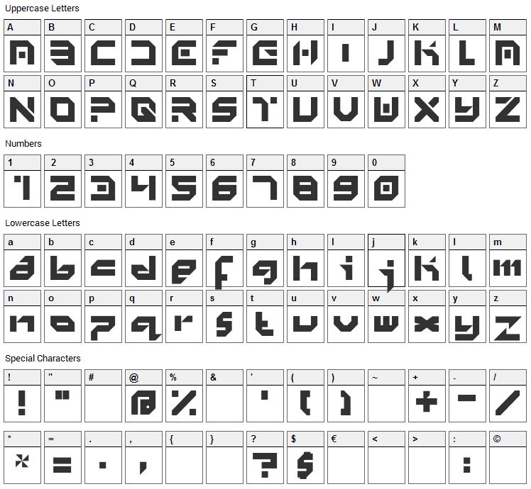 Minimal Font Character Map