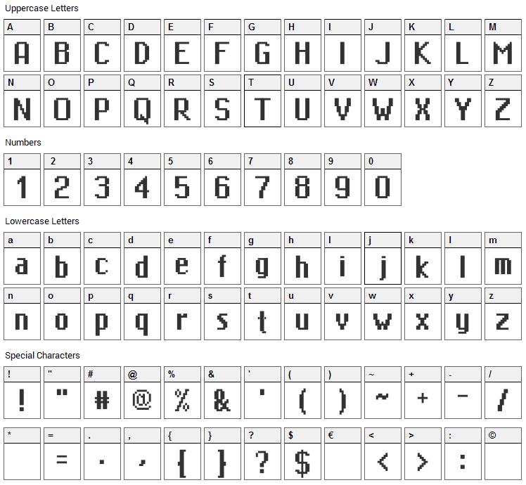 MiniMasa Font Character Map