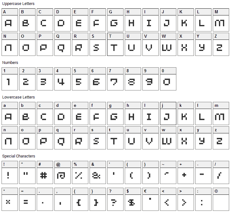 Minimum Font Character Map