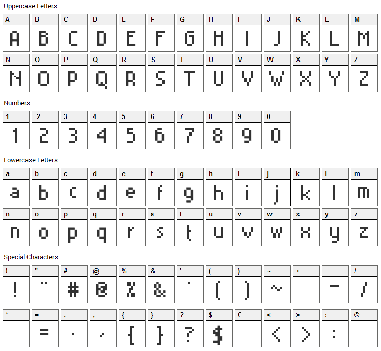 MiniSet Font Character Map