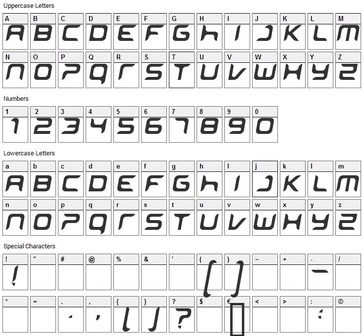 Miniskip Font Character Map