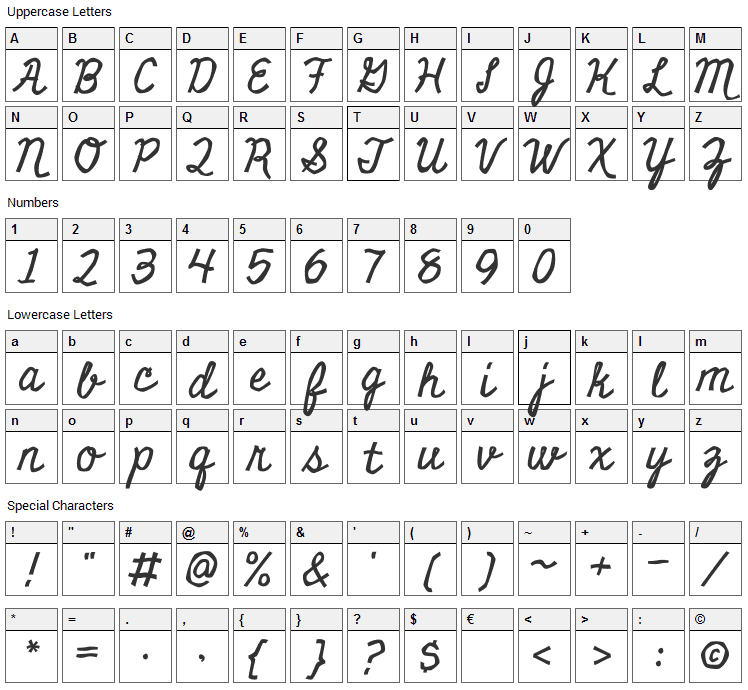 Miniver Font Character Map