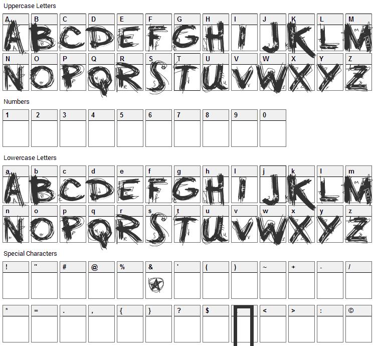 Minus Font Character Map
