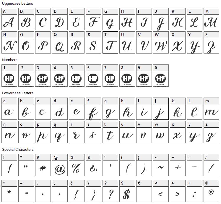 Miralight Font Character Map