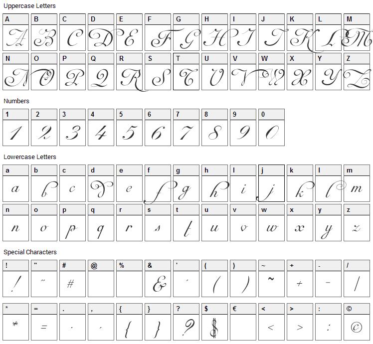 Mirella Script Font Character Map