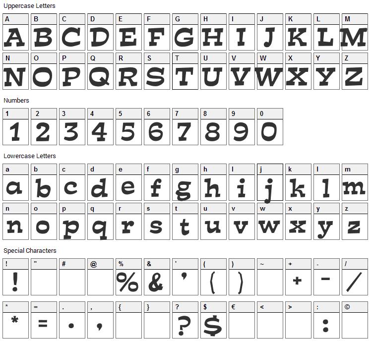 Mirisch Font Character Map