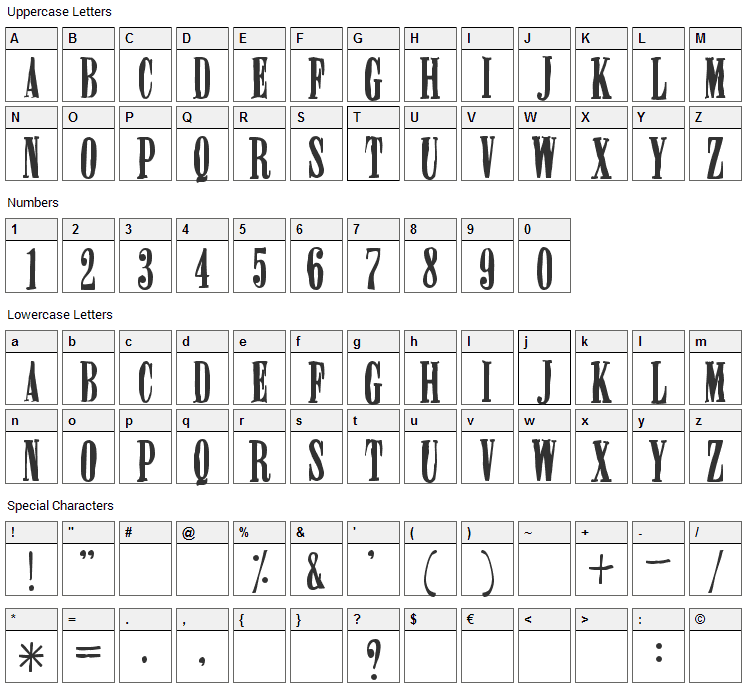 Miserable Font Character Map