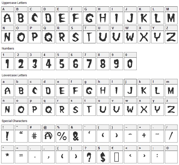 Misfit Font Character Map