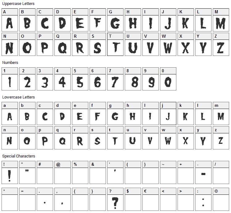 Misfits Font Character Map