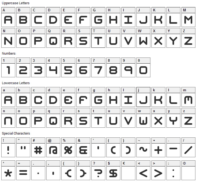 Mishmash Font Character Map