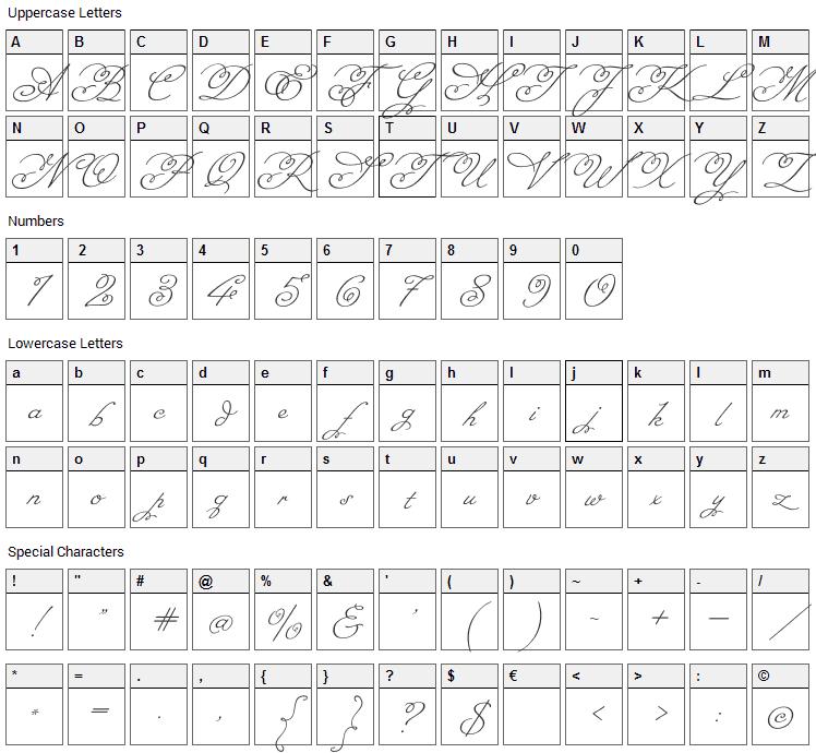 Miss Fajardose Font Character Map